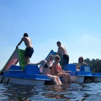 Hitting the slides at Lake Slapy