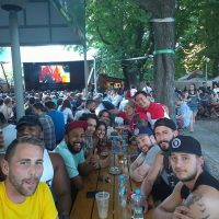 Watching Team Canada win GOLD at Riegrovy Sady Beer Garden